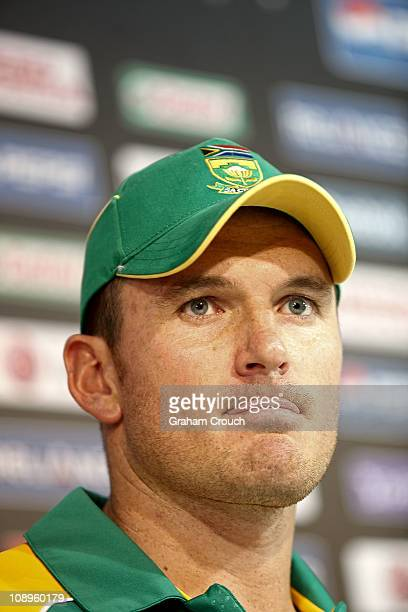 Captain Graeme Smith of South Africa addresses the media at the Captain's Press Conference on February 10 2011 in Chennai India