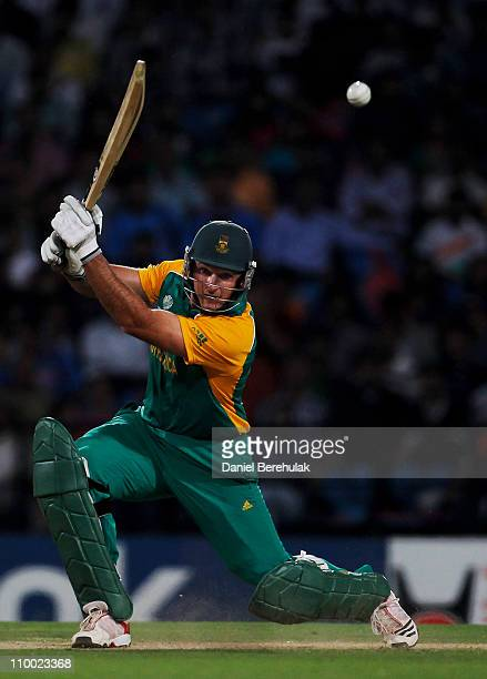Captain Graeme Smith of South Africa bats during the Group B ICC World Cup Cricket match between India and South Africa at Vidarbha Cricket...