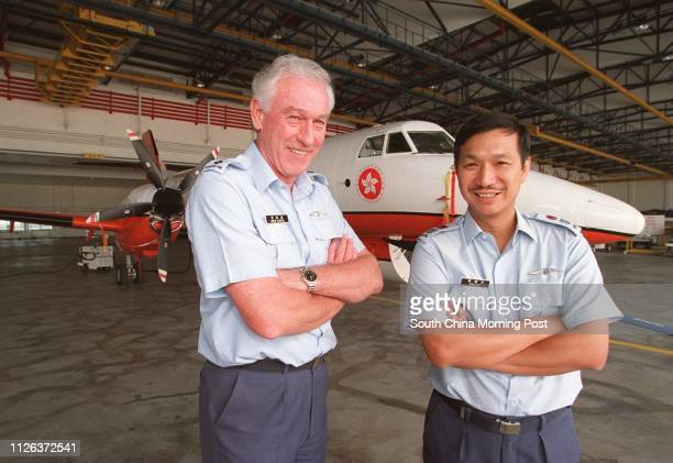 Captain Greame McIntosh Chief Aircraft Engineer and Brian Butt Controller of Government Flying Service pose in front of one of the new Jetstream 41...