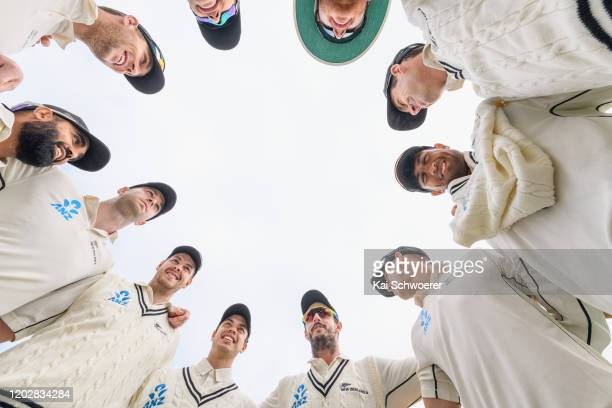 Captain Hamish Rutherford of New Zealand A speaks to his team mates during Day 1 of the Test Series between New Zealand A and India A at Hagley Oval...