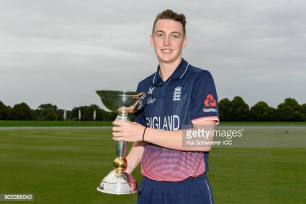Captain Harry Brook of England poses with the ICC U19 World Cup trophy during the ICC U19 Cricket World Cup Opening Ceremony on January 7 2018 in...
