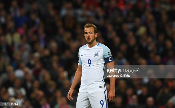 Captain Harry Kane of England looks on during the FIFA 2018 World Cup Group F Qualifier between England and Slovenia at Wembley Stadium on October 5...