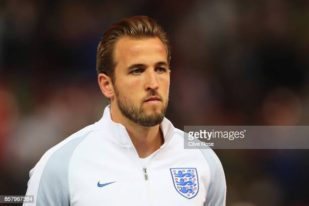 Captain Harry Kane of England looks on prior to the FIFA 2018 World Cup Group F Qualifier between England and Slovenia at Wembley Stadium on October...