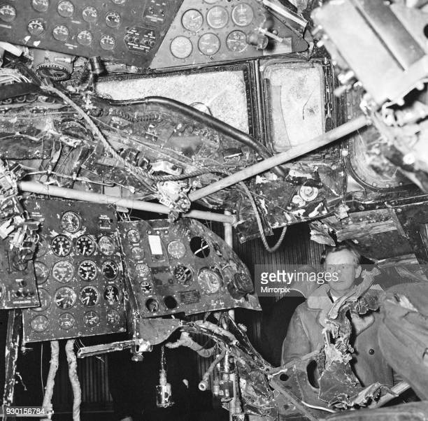 Captain Harry Marlow inspects the wreckage of his British Midland plane now at Farnborough Aerodrome 6th December 1967