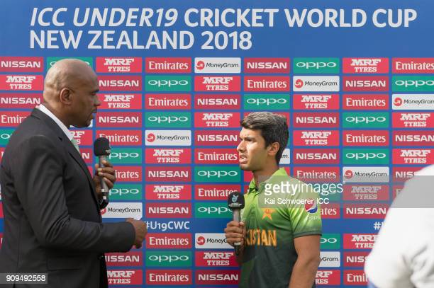 Captain Hasan Khan of Pakistan speaks to presenter Ian Bishop after win in the ICC U19 Cricket World Cup match between Pakistan and South Africa at...