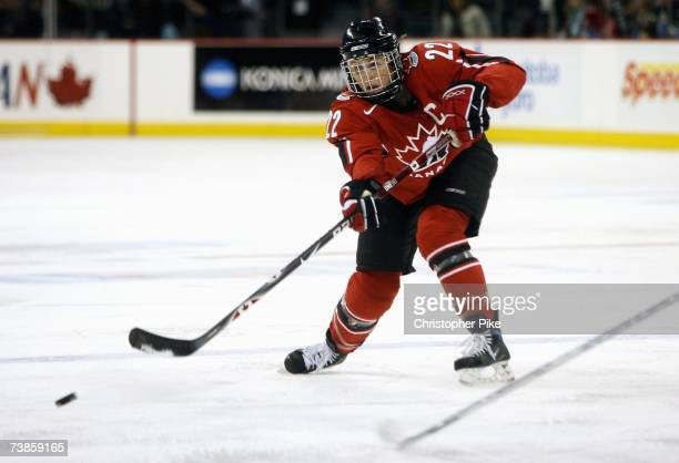Captain Hayley Wickenheiser of Canada shoots the puck against the USA during the IIHF Women's World Championship Gold Medal game on April 10 2007 at...