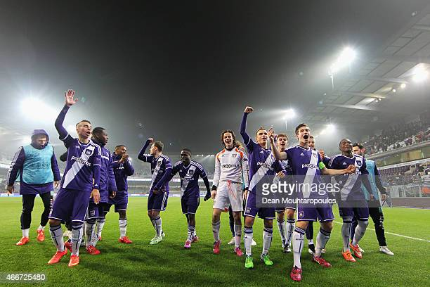 Captain, Herve Matthys of Anderlecht leads the celebrations after victoy in the UEFA Youth League quarter final match between RSC Anderlecht and FC...