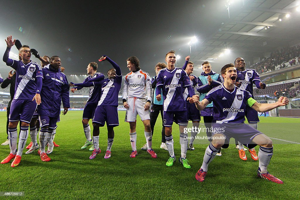 Captain, Herve Matthys of Anderlecht leads the celebrations after victoy in the UEFA Youth League quarter final match between RSC Anderlecht and FC Porto at Constant Vanden Stock Stadium on March 18, 2015 in Brussels, Belgium.