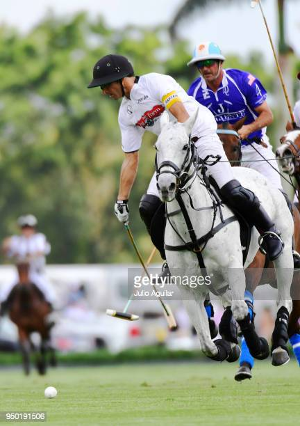 Captain Hilario Ulloa of The Daily Racing Form looks to take a swing at the ball in the US Open Polo Championship against Valiente April 22 2018 in...