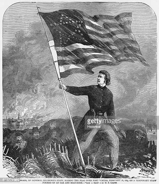Captain HM Bragg raises the United States flag over Fort Sumter on February 18 1865 The flag was fixed to a temporary staff made from an oar and boat...