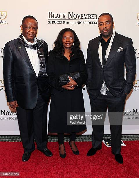 Captain Hosa Okunbo Obie and a guest attend the 'Black November' film screening at The Library of Congress on February 29 2012 in Washington DC