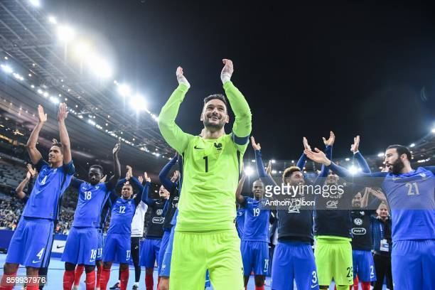 Captain Hugo Lloris of France leads the celebrations during the Fifa 2018 World Cup qualifying match between France and Belarus on October 10 2017 in...