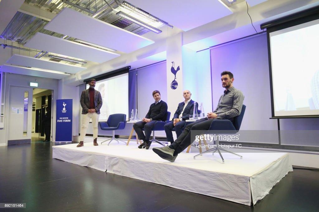 Captain Hugo Lloris speaks at the Tottenham Hotspur Fans Forum on December 11, 2017 in Tottenham, England.
