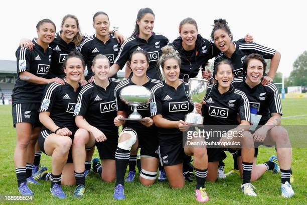 Captain, Huriana Manuel of New Zealand holds the trophy as she poses with the team after winning the IRB Women's Sevens World Series at the National...