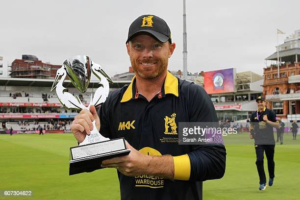 Captain Ian Bell celebrates with the trophy after Warwickshire win the Royal London OneDay Cup Final after beating Surrey at Lord's Cricket Ground on...