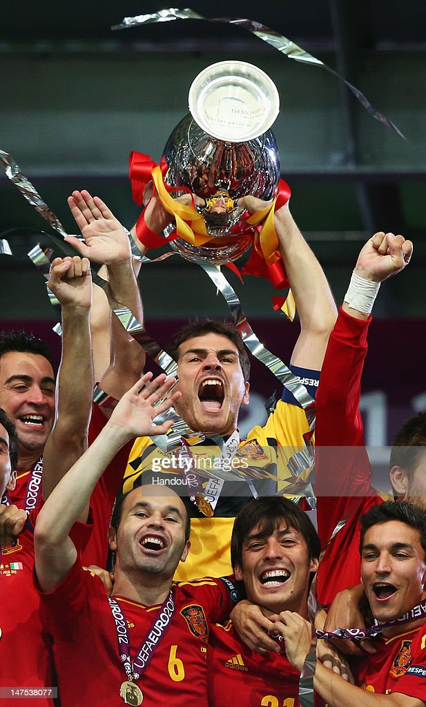 Captain Iker Casillas of Spain lifts the trophy after victory during the UEFA EURO 2012 final match between Spain and Italy at the Olympic Stadium on July 1, 2012 in Kiev, Ukraine.