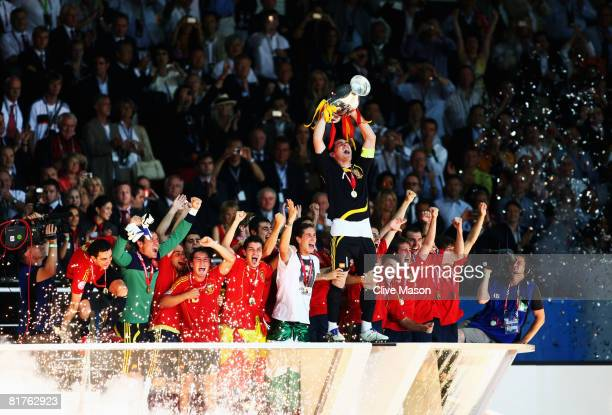 Captain Iker Casillas of Spain lifts the trophy after winning against Germany in the UEFA EURO 2008 Final match between Germany and Spain at Ernst...