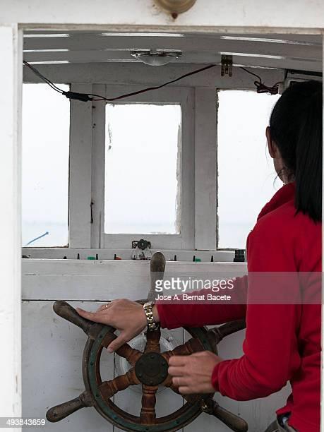 Captain in fishing boat