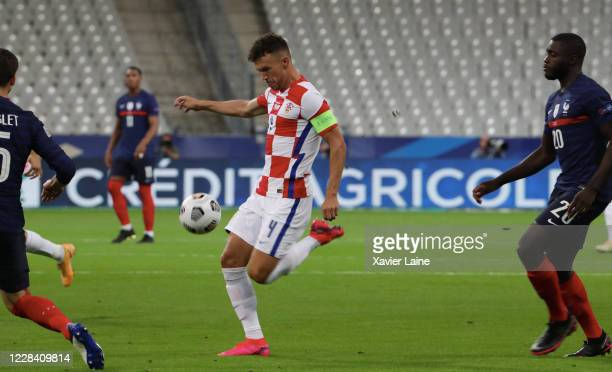 Captain Ivan Perisic of Croatia in action during the UEFA Nations League group stage match between France and Croatia at Stade de France on September...