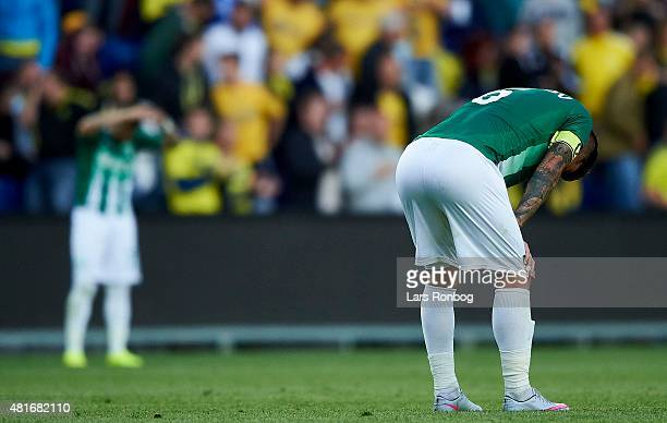 Captain Ivo Ivanov of PFC Beroe Stara Zagora looks dejected after the UEFA Europa League Qualification match between Brondby IF and PFC Beroe Stara...