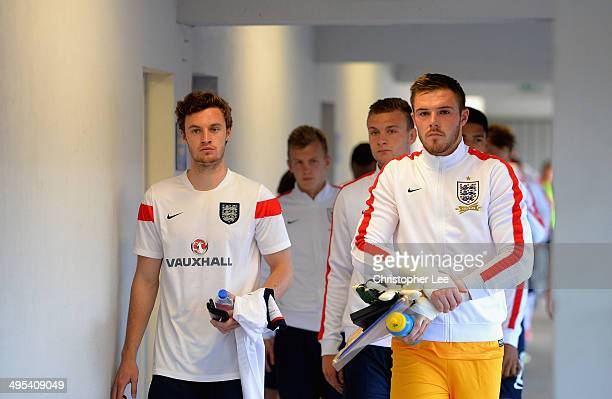 Captain Jack Butland of England leads his team down the tunnel during the Third Place Playoff match of the Toulon Tournament between Portugal and...