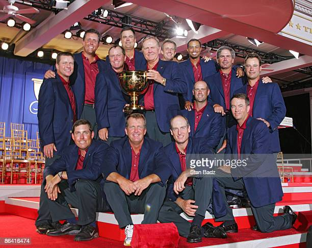 Captain Jack Nicklaus with the U.S. Team and the Presidents Cup during the closing ceremony of The Presidents Cup at Robert Trent Jones Golf Club in...