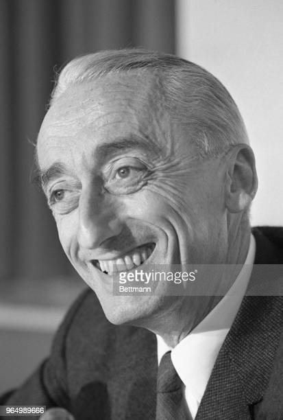 Captain JacqueYves Cousteau noted French undersea pioneer and explorer during press interview after he received the Boston Museum of Science's 1965...