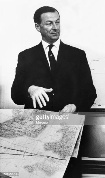 Captain James Andrews, who will fly the first commercial Concorde flight for BOAC in 1971, meets the press the day before the unveiling ceremony of...