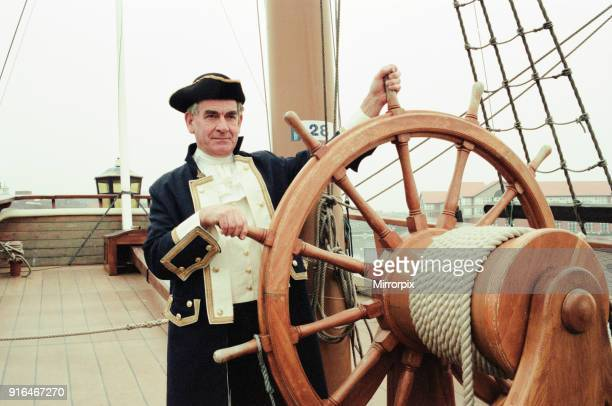 Captain James Cook aka David Wheeler appealing for volunteers to help man the Endeavour at Stockton Castlegate Quay 30th January 1997