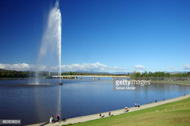 Captain James Cook Memorial Jet in operation in Lake Burley Griffin, Canberra, Australian Capital Territory, Australia