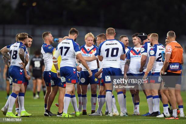 Captain James Graham of Great Britain and his team mates look on during the Rugby League Test match between the New Zealand Kiwis and the Great...