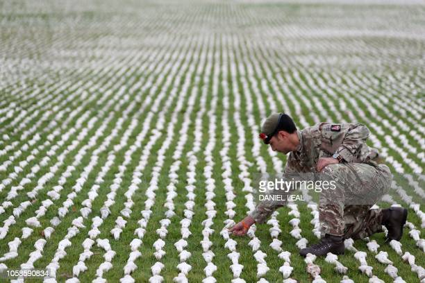 Captain James Pugh of the British Army's 1 Royal Anglian Regiment poses with a section of 72396 shrouded figures which form the installation Shrouds...