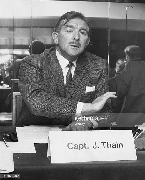Captain James Thain the pilot of the Munich air crash holds a press conference at the Savoy Hotel in London after the British government cleared him...