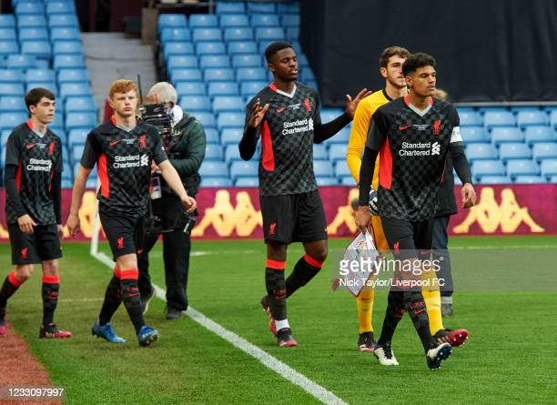 Captain Jarell Quansah of Liverpool leads his team on to the pitch at the start of the FA Youth Cup Final at Villa Park on May 24, 2021 in...