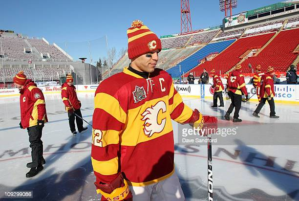 03248fe2674 Captain Jarome Iginla of the Calgary Flames skates during practice for the  2011 Tim Hortons Heritage