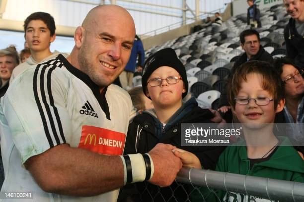 Captain Jason Rutledge of South poses for a photo after the North v South rugby match at Forsyth Barr Stadium on June 10 2012 in Dunedin New Zealand