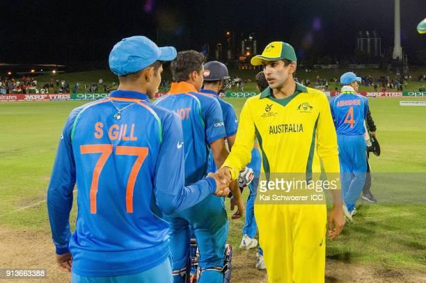 Captain Jason Sangha of Australia congratulates Shubman Gill of India following the ICC U19 Cricket World Cup Final match between Australia and India...