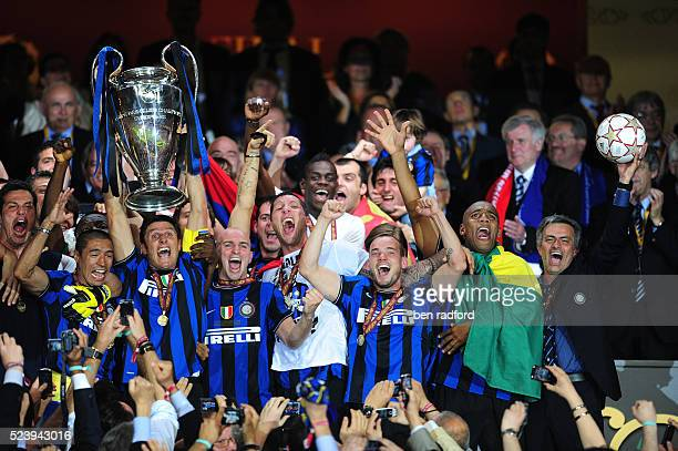 Captain Javier Zanetti of Inter Milan and Coach Jose Mourinho celebrate winning the UEFA Champions League Final between Bayern Munich and Inter Milan...