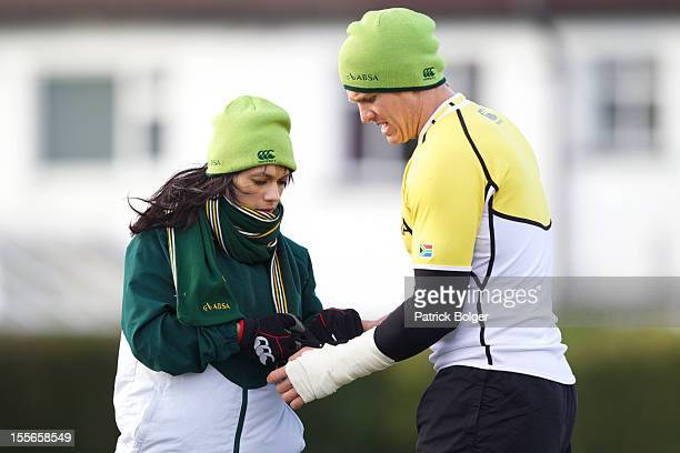 Captain Jean De Villiers and physio Rene Naylor during a South Africa team training session at Blackrock College RFC on November 6 2012 in Dublin...