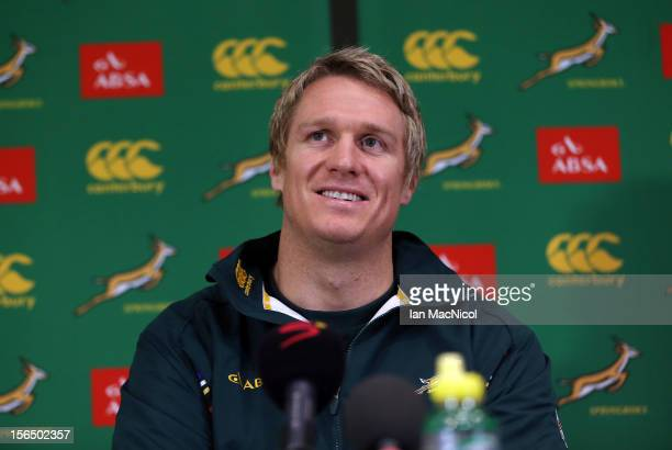 Captain Jean de Villiers of South Africa attends a press conference prior to the Test match between Scotland and South Africa at the Radisson Blu...