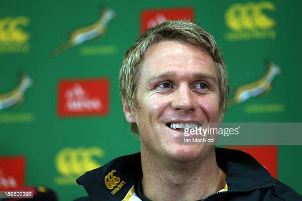 Captain Jean de Villiers of South Africa smiles during a press conference prior to the Test match between Scotland and South Africa at the Radisson...