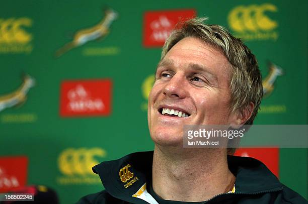 Captain Jean de Villiers of South Africa speaks during a press conference prior to the Test match between Scotland and South Africa at the Radisson...