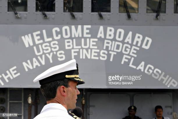 Captain Jeff Bartkoski Commanding Officer of the USS Blue Ridge addresses journalists during a media tour on board the USS Blue Ridge at Westport...