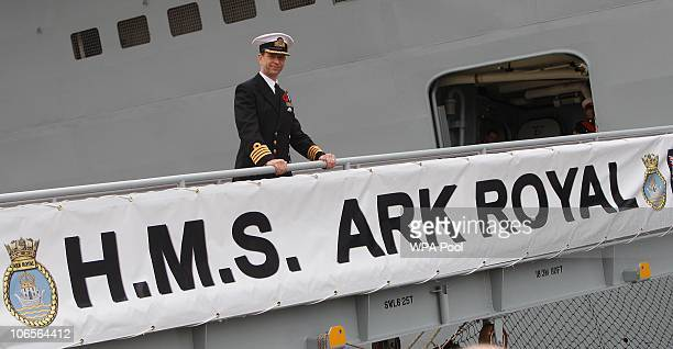 Captain Jerry Kyd of HMS Ark Royal Queen Elizabeth II boarded the Ark Royal on November 5 2010 in Portsmouth United Kingdom Queen Elizabeth II...
