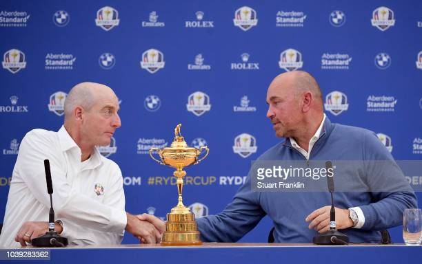 Captain Jim Furyk of the United States and captain Thomas Bjorn of Europe attend a press conference ahead of the 42nd Ryder Cup 2018 at Le Golf...