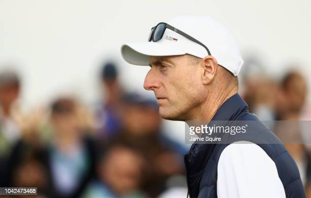 Captain Jim Furyk of the United States looks on during the afternoon foursome matches of the 2018 Ryder Cup at Le Golf National on September 28 2018...