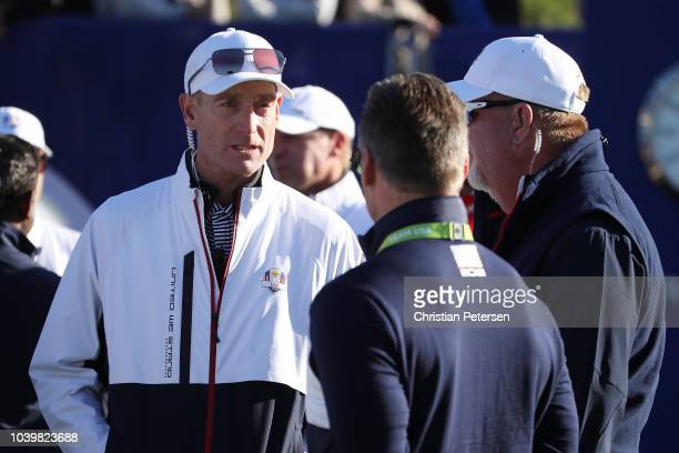 Captain Jim Furyk of the United States looks on from the 1st tee ahead of the 2018 Ryder Cup at Le Golf National on September 25, 2018 in Paris,...