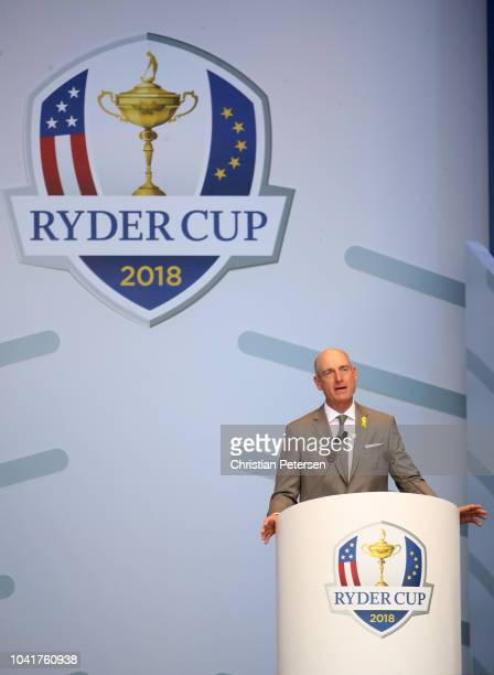 Captain Jim Furyk of the United States makes a speech during the opening ceremony for the 2018 Ryder Cup at Le Golf National on September 27 2018 in...