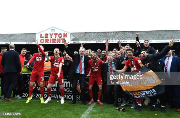Captain Jobi McAnuff of Leyton Orient and team mates celebrate as they win the title after the Vanarama National League match between Leyton Orient...