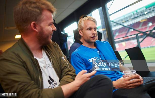 Captain Johan Larsson of Brondby IF speaks to the media during the Danish FA press conference the day before the Cup Final DBU Pokalen match between...